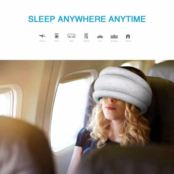 Travel Pillow for Restful Sleep on Airplanes, Car, Train. Neck Support/Eye Mask with Adjustable Toggles. Travel Accessories for Adult and Kids. Wraps Around Your Head for 360° Napping, Blue