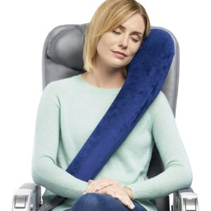 Travelrest Premium Travel Pillow/Neck Pillow - Plush Washable Cover - LEAN Into It - Best Pillow For Airplanes, Autos, Trains, Buses, Office Napping (Rolls Up Small)