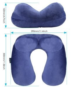 UROPHYLLA Travel Pillow, Soft Velvet Inflatable Travel Neck Pillow For Airplanes, Train, Car, Home and Office with Packsack & Comfortable Velvet – Blue