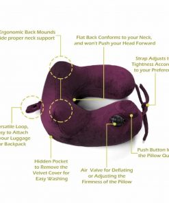 Ultra Comfortable Inflatable Travel Pillow – Portable, Lightweight, Super Compact Neck Support for Airplane, Car, and Train + FREE Travel Accessories Pack – Eye Mask and Ear Plugs (Royal purple)