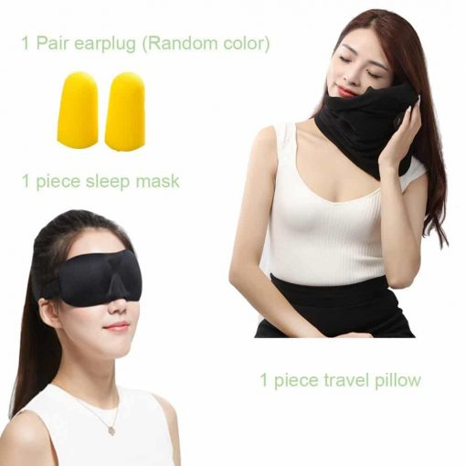 Unisex Travel Pillow Set with Sleep Mask and Earplugs-Machine Washable - Easy Attachable to Luggage - Lightweight Scientifically Proven Long-haul Flight Neck Support Pillow -Best for Airplane (Black)