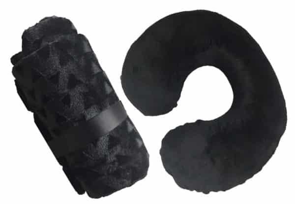 Velvet Throw Blanket And Travel Pillow Set Black