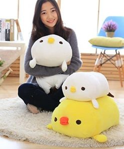 WDDH Cute Cartoon Little Yellow Chicken Pillow and Blanket Warm Hand Design Short Plush Soft Toy