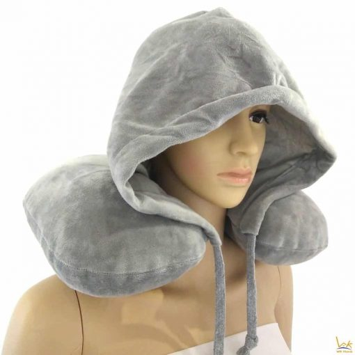 WK Home Traveler Travel Neck Inflatable Pillow with Hoodie Build-In Hand Pump & Hat (Comes with carry case) Grey