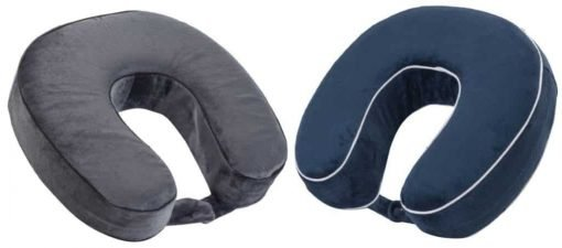 World's Best Cushion-Soft Memory Foam Neck Pillows Variety Pack, Charcoal and Navy