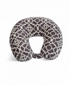 World's Best Feather Soft Microfiber Neck Pillow, Charcoal Trellis, Neck-supportive Travel Pillow