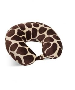 World's Best Feather Soft Microfiber Neck Pillow, Giraffe Print, Neck-supportive Travel Pillow