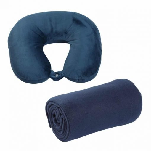 World's Best Pillow and Blanket Travel Pack, Microbead Neck Pillow and Microfleece Blanket, Navy