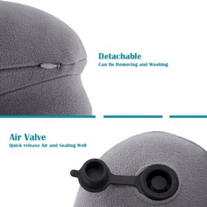 Zonyor Ultra light U Shape Camping Travel Pillow Inflatable Backpacking Soft Velvet Push-Button Automatic Neck Pillow for Travel and Airplane Support Head Neck, with Storage